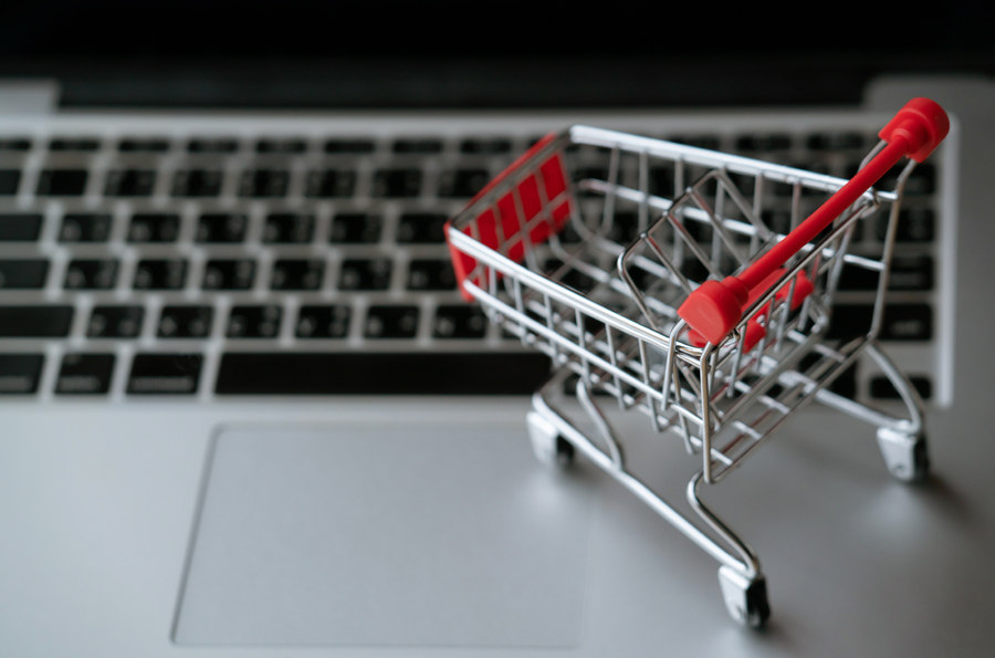 shopping cart on computer
